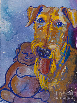 Buddha And The Divine Airedale No. 1332 Original by Ilisa  Millermoon