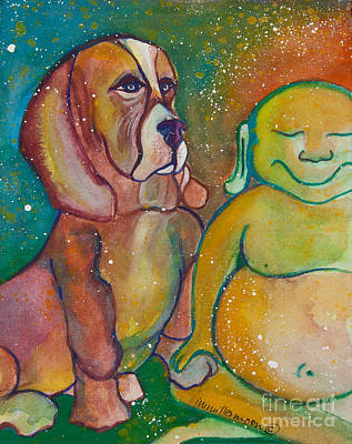 Gouache Painting - Buddha And The Divine Basset Hound No. 1318 by Ilisa  Millermoon