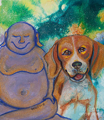 Beagle Puppies Painting - Buddha And The Divine Beagle No. 1325 by Ilisa  Millermoon