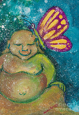 Gouache Painting - Buddha And The Divine Butterfly No. 1238 by Ilisa  Millermoon