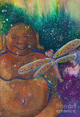 Buddha And The Divine Dragonfly No. 1308 Print by Ilisa  Millermoon