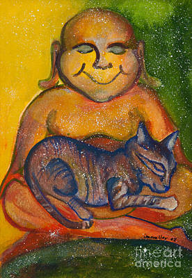 Gouache Painting - Buddha And The Divine Feline No. 1237 by Ilisa  Millermoon