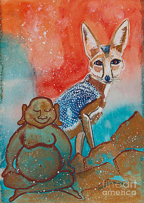 Fox Kit Painting - Buddha And The Divine Kit Fox No. 1373 by Ilisa  Millermoon