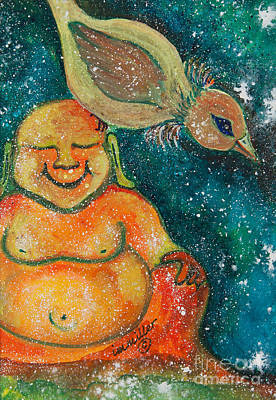 Gouache Painting - Buddha And The Divine Sparrow No. 1240 by Ilisa  Millermoon