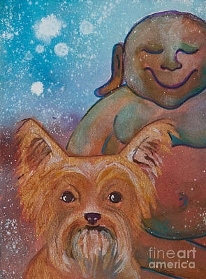 Gouache Painting - Buddha And The Divine Yorkie No. 1326 by Ilisa  Millermoon