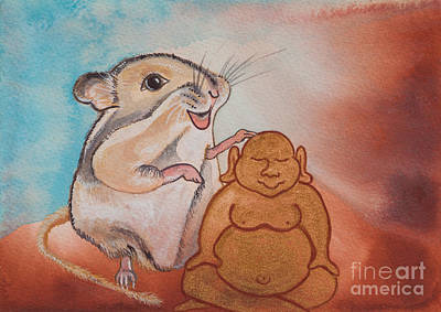 Gerbil Painting - Buddha And The Divine Gerbil No. 2278 by Ilisa  Millermoon