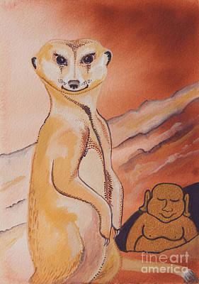 Meerkat Painting - Buddha And The Divine Meerkat No. 2273 by Ilisa  Millermoon