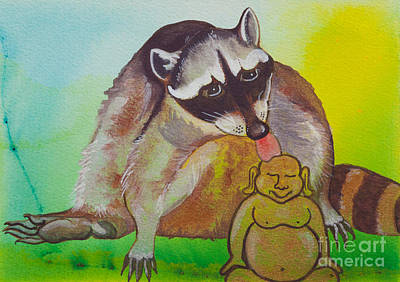 Buddha And The Divine Raccoon No. 2280 Original by Ilisa  Millermoon