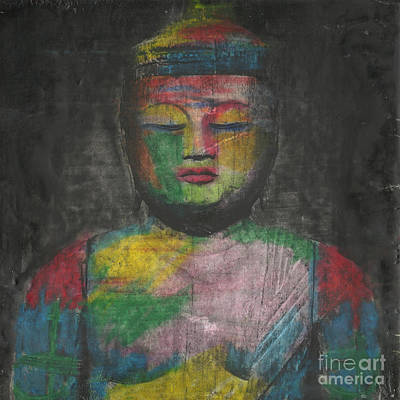 Buddha Encaustic Painting Print by Edward Fielding