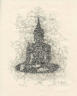 Buddha Pen And Ink Drawing Print by Karla Beatty
