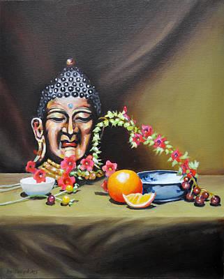 Phil Hopkins Painting - Buddha Still Life by Phil Hopkins