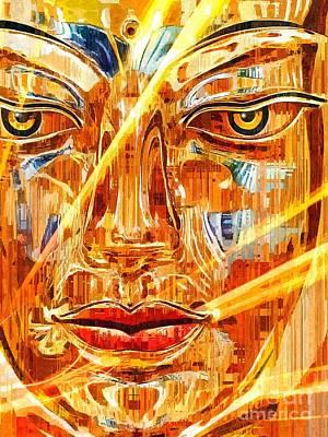 Statue Portrait Digital Art - Buddha Titanium by Khalil Houri
