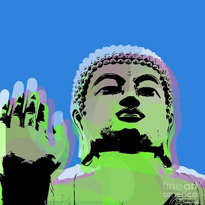 Siddharta Digital Art - Buddha Warhol Style by Jean luc Comperat