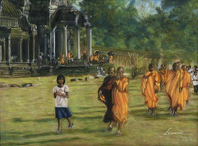 Buddhist Monks Print by Leonor Thornton