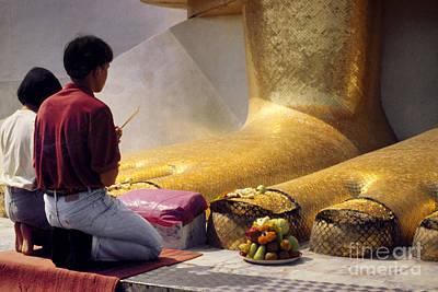 Photograph - Buddhist Thai People Praying by Heiko Koehrer-Wagner