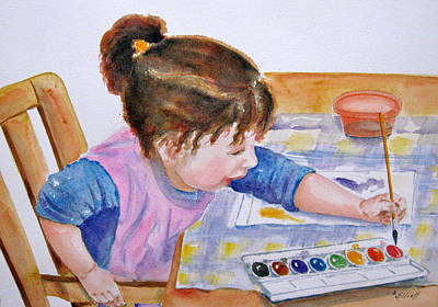 Granddaughter Painting - Budding Artist by Marsha Elliott