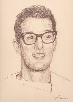 Stratocaster Drawing - Buddy Holly by Reggie Rivera