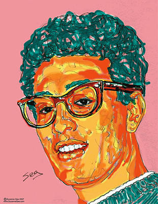 Cricket Drawing - Buddy Holly  by Suzanne Gee