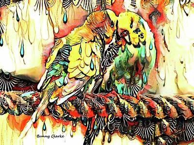 Parakeet Digital Art - Budgie Love by Bunny Clarke