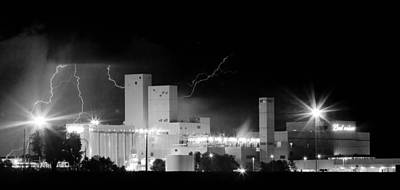 Budweiser  Brewery Lightning Thunderstorm Image 3918  Bw Pano Print by James BO  Insogna