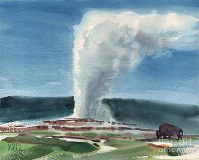 Yellowstone Painting - Buffalo And Geyser by Donald Maier