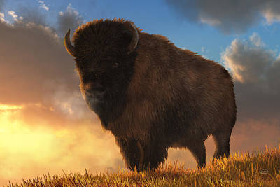 Western Themed Digital Art - Buffalo At Dawn by Daniel Eskridge
