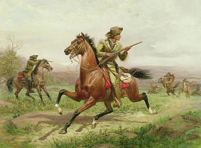 Male Horse Painting - Buffalo Bill Fighting The Indians by Louis Maurer