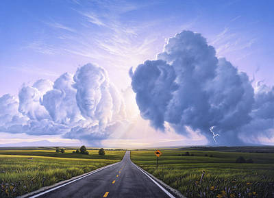 Road Painting - Buffalo Crossing by Jerry LoFaro