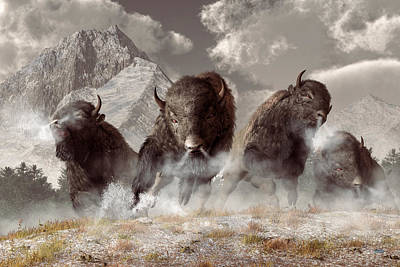 Western Themed Digital Art - Buffalo by Daniel Eskridge