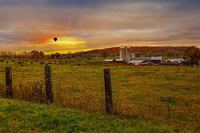 Buffalo Farm Sunset Print by Susan Candelario