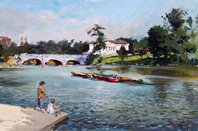 Landscapes Lakes Painting - Buffalo  Fishing Day by Ylli Haruni