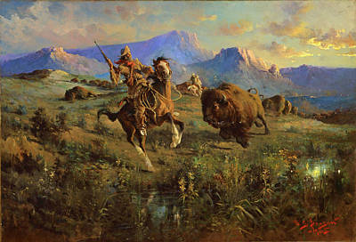 Edgar Samuel Paxson Painting - Buffalo Hunt by Edgar Samuel Paxson