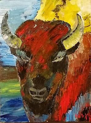 Native American Symbols Painting - Buffalo by Karla Kay Benjamin
