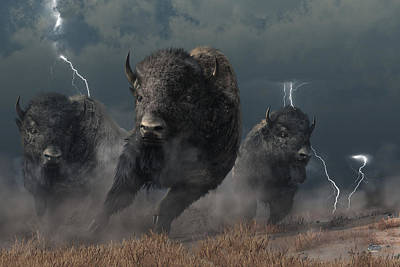 Western Themed Digital Art - Buffalo Storm by Daniel Eskridge