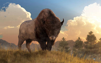 Western Themed Digital Art - Buffalo Sunset by Daniel Eskridge