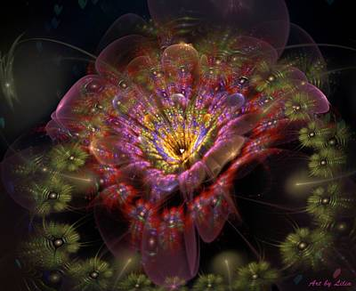 Iridescent Mixed Media - Bug Trap Flower by Lilia D