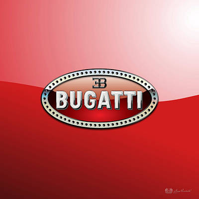 Bugatti - 3 D Badge On Red Print by Serge Averbukh