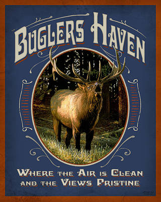 Elk Painting - Buglers Haven Sign by JQ Licensing
