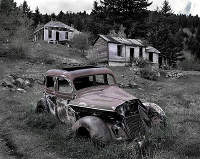 Old Cabins Photograph - Buick by Leland D Howard