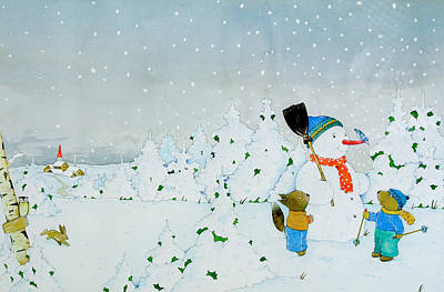 Squirrel Drawing - Build A Snowman by Christian Kaempf