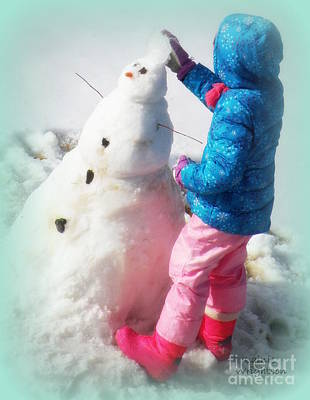 Building A Snowman Print by Lainie Wrightson