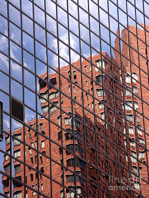 Brick Photograph - Building Reflection by Tony Cordoza