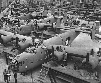 Two Tailed Photograph - Building The B24 Fleet 1943 Bw by Padre Art