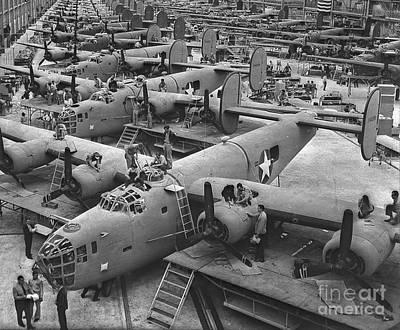 Building The B24 Fleet 1943 Bw Print by Padre Art