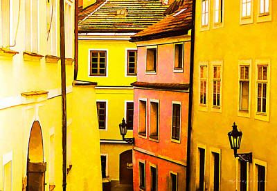 Buildings In Prague Print by Robert Meyerson