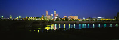 Indiana Photograph - Buildings Lit Up At Dusk, Indianapolis by Panoramic Images