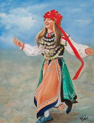 Girls Painting - Bulgarian Dancer by Joni McPherson