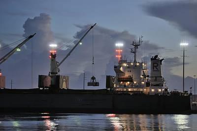 Grapple Photograph - Bulk Cargo Carrier Loading At Dusk by Bradford Martin