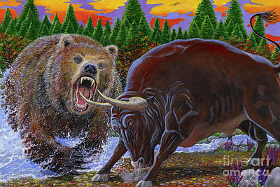 Bull And Bear Original by Carey Chen