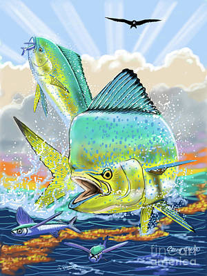 Colorful Marine Life Digital Art - Bull And Cow Mahi by Carey Chen